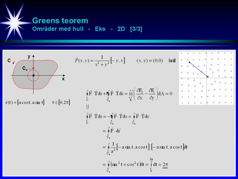 Greens teorem Områder med hull - Eks - 2D [3/3]